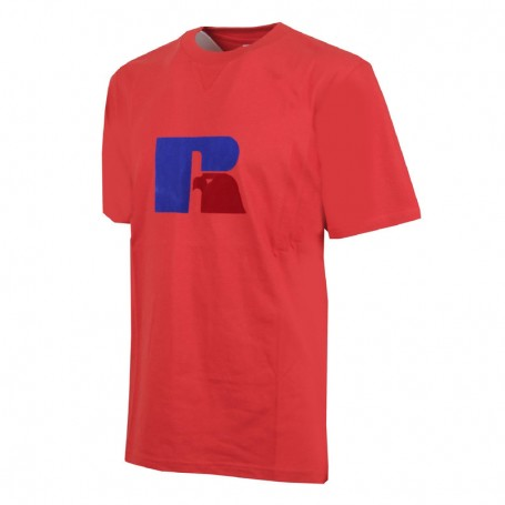 """Russell Athletic Eagle """"R"""" T-Shirt Uomo Heritage S/S Flock Tee Rosso (426-T4)"""