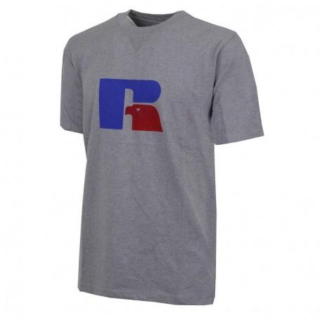 """Russell Athletic T-shirt Eagle """"R"""" uomo Flock Tee Collegiate Grigio (090-CJ)"""